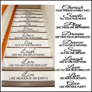 Stair Riser Sticker Cherish Smile Dream Live Love Laugh Cut Vinyl Decal Transfer