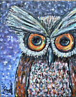 A NIGHT OWL bird new oil painting 8x10 canvas art original signed Crowell $