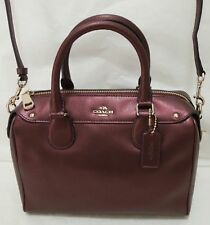 Coach Crossgrain Leather Mini Bennett Satchel F36624 Metallic Cherry Women Bag