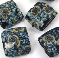 Lampwork Handmade Glass Square Beads 20mm - Turquoise Blossoms (6)