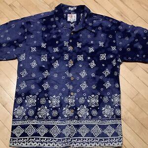 Marc Edwards Navy Blue Paisley Button Short Sleeve Shirt Size L