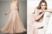 NEW NWT $895.00 Halston Heritage Rose Gold Silk Pleated Long Maxi Gown Dress 8