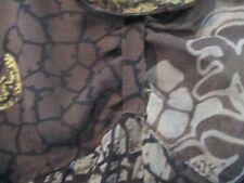 PURA SETA Marie mero marrone a fiori dipinti a mano Blusa Taglia 14