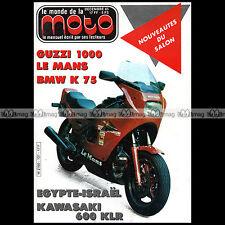LE MONDE DE LA MOTO N°131-b SUZUKI SP 370 KAWASAKI KLR 600 SIDE-CAR JAWA VELOREX