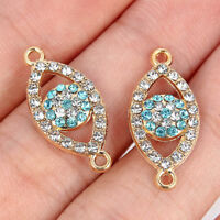 10pcs Gold Crystal Blue Eyes Alloy Charms Connector Pendant For Jewelry Finding