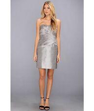 NWT Donna Morgan Shantung faux silk strapless tiered dress Pearl Silver  18