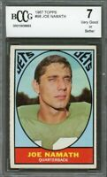 1967 topps #98 JOE NAMATH new york jets BGS BCCG 7