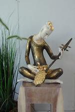 Buddha Höhe: 55cm Tempelmusiker aus Holz,vergoldet Buddha Figur Skulptur