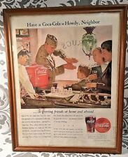 RARE! WW II US Navy Officer Have a Coca Cola Howdy Neighbor Coke In Color! 1944