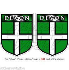 """DEVON County Britain UK Exeter British Shield 75mm(3"""") Bumper Stickers-Decals x2"""