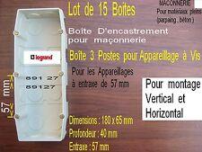 LEGRAND Mosaic,15 Triple Boite d'encastrement,Inter et prise,,Parpaing ou Béton