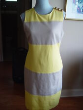 Just Taylor NWOT Sheath Dress Size 10 Beiges Blocked sleeveless Polyester D34