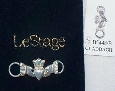 NEW 925 sterling silver LeStage Claddagh Convertible clasp, Celtic charm USA