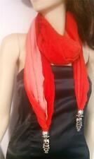 ELEGANT WOMAN FASHION RED SOFT SCARF WITH OWLS JEWELR IN THE EDGES