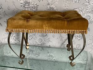 Vintage 60's Crushed Velvet Pouffe Dressing Table Stool Dresser Chair Piano Seat