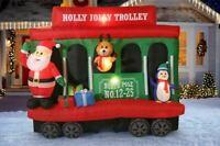CHRISTMAS SANTA JOLLY TROLLEY STREETCAR NORTH POLE  INFLATABLE AIRBLOWN GEMMY