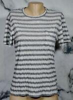 CLUB MONACO Light Dark Gray Striped T Shirt Top Small Short Sleeves Unlined