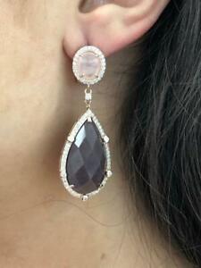 Rose Gold Sterling Silver Pink Quartz Purple Amethyst Chandelier Drop Earrings