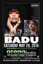 ERYKAH BADU / RO JAMES 2016 HOUSTON CONCERT TOUR POSTER- Neo Soul,R&B,Soul Music