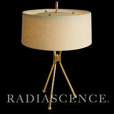 T H ROBSJOHN GIBBINGS HANSEN ATOMIC MODERN SPACE AGE TRIPOD BRASS TABLE LAMP 50s