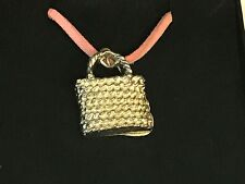 """Wicker Handbag TG98 English Pewter On 18"""" Red Cord Necklace"""
