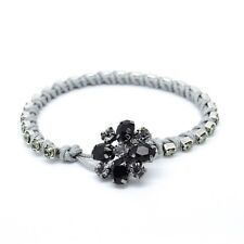 Black Silver Macrame Bracelet with Crystals and Flower Clasp from Swarovski 7.5""
