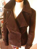 Ladies M&S PER UNA cotton corduroy JACKET BLAZER brown UK 16 18 double breasted