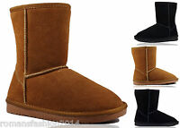 Womens Ladies Real Sheepskin Real Leather Short Calf Winter Boots Shoes Size 3-8