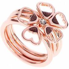 Ted Baker Leotie Enamel Flower Stacking 3 Rings Rose Gold Tone Medium / Large