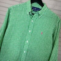 Polo Ralph Lauren Custom Fit 100% Linen L/S Button Shirt Gingham Green Men's M