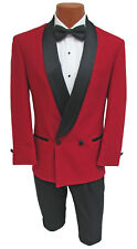 Mens Red Double Breasted Tuxedo Dinner Jacket with Black Satin Lapels 64 Regular