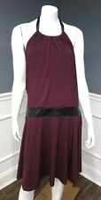 Victoria's Secret NWOT maroon polyester halter dress faux leather XL Sislou H7