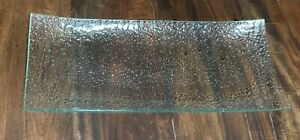 """Beautiful Large 18.5"""" X 7.5"""" BUBBLE GLASS TRAY For Bathroom,  Dresser Or Display"""