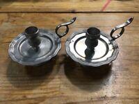Pair Vintage Belgian Pewter Wee Willy Winky Candle Holder Jos Van Aerschot