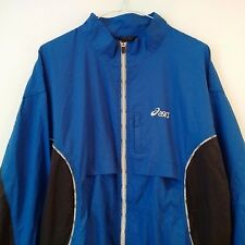 ASICS 'Duo Tech' Mens Blue/Black Zip Front Windbreaker Running Jacket UK XL