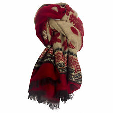 Ladies Large Wool Red & Black & Beige Rose & Aztec Soft Shawl Scarf Wrap Stole