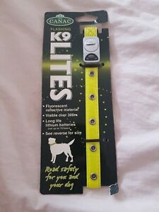 SMALL Canac K9 Lites Fluorescent Dog Collar will need replacement batteries NEW