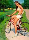 "Vintage GIL ELVGREN Pinup Girl CANVAS ART PRINT Poster Cycling 16""X 12"""