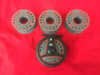 Vintage Leeda LC80 Fly Reel & 3 Spare Spools, Trout Fly Fishing, British Made
