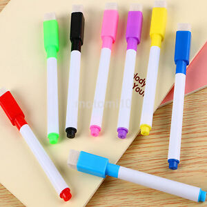 5PCS/Pack Magnetic Dry Erase White Board Markers Pens Fine Point Built-in Eraser