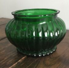 Vintage Forest Green Oval Glass Bowl Vase Planter by A.L.R. Co. Cleveland R-18