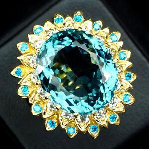 AQUAMARINE AQUA BLUE 17.80 CT. SAPP APATITE 925 STERLING SILVER GOLD RING SZ 7