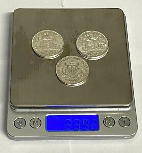 1936 1942 1944 Very High Grade 3x Silver Florin Coins 92.5% Silver ~ Australia