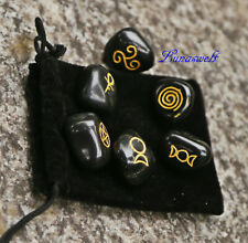 Wicca Symbolsteine schwarzer Achat SET 6 x