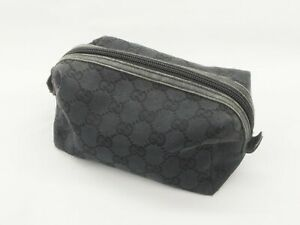 【Rank B】GUCCI Accessories Pouch Bag Black GG Pattern Canvas Leather A080