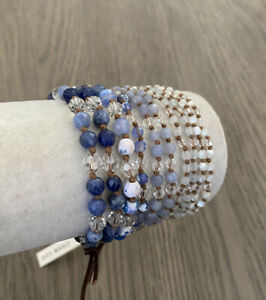 New Auth Chan Luu Blue Mix Multi Strand Brown Leather Bracelet