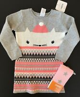 NWT Gymboree Baby Sweater Dress Tights Set Kitty 2T 3T 4T 5T