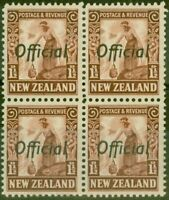 New Zealand 1936 1 1/2d Red-Brown SG0116 V.F MNH Block of 4