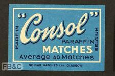 Vintage Matchbox Label - Consol - Made in Belgium for Nollag Matches Glasgow