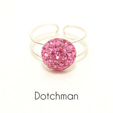 925 Sterling Adjustable Silver Toe Ring With Pink Crystal